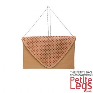 Gina Geometric Oversized Tan Petite Clutch Bag